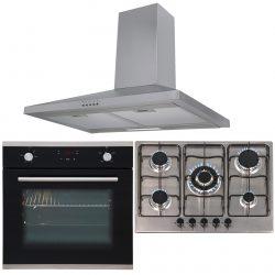 SIA 60cm Black Electric Single True Fan Oven, 70cm Gas Hob & Chimney Cooker Hood