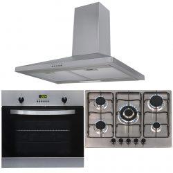 SIA 60cm Stainless Steel Single Fan Oven, 70cm Gas Hob & Chimney Cooker Hood Fan