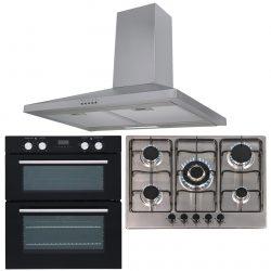 SIA 60cm Black Double True Fan Electric Oven, 70cm Gas Hob & Chimney Cooker Hood