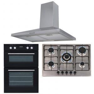 SIA 60cm Black True Fan Double Electric Oven, 70cm Gas Hob & Chimney Cooker Hood