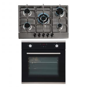 SIA 60cm Black Touch Control Single Oven & 70cm Stainless Steel 5 Burner Gas Hob