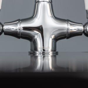 Reginox EASY325 1.5 Bowl Black Granite Kitchen Sink & Elbe Swan Neck Mixer Tap