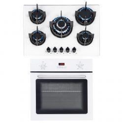 SIA 60cm White Single Electric True Fan Oven & 70cm White 5 Burner Gas Glass Hob