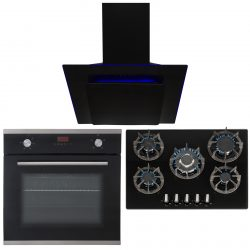 SIA 60cm Black Single Electric Oven, 70cm Gas Hob & Angled Cooker Hood Extractor