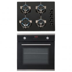 SIA 60cm Black Single Electric True Fan Oven & 4 Burner Black Gas On Glass Hob