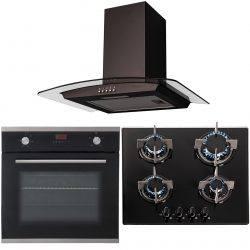 SIA 60cm Single Electric Oven, 4 burner Glass Gas Hob & Curved Glass Cooker Hood