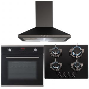 SIA 60cm Black Single True Fan Electric Oven, 4 Burner Gas Hob & Cooker Hood Fan