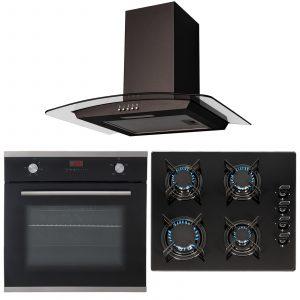 SIA 60cm Black Single Electric True Fan Oven, 4 Burner Gas Hob & Curved Hood Fan