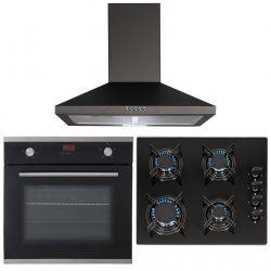SIA 60cm Black Electric Single Fan Oven, 4 Burner Gas On Glass Hob & Cooker Hood