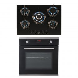 SIA 60cm Single Electric True Fan Oven And 70cm Black 5 Burner Gas On Glass Hob