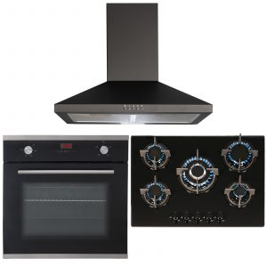 SIA Black Single Electric True Fan Oven, 5 Burner Glass Gas Hob And Chimney Hood