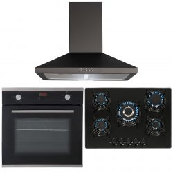 SIA Black Single Electric True Fan Oven, 5 Burner Gas Hob And Chimney Extractor