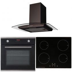 SIA 60cm Black Single Fan Oven, 4 Zone Touch Control Induction Hob & Curved Hood