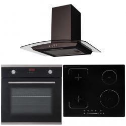 SIA 60cm Black Single Fan Oven, 4 Zone Flexi-Bridge Induction Hob & Curved Hood