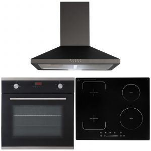 SIA 60cm Single True Fan Oven, 4 Zone Flexi-Bridge Induction Hob And Cooker Hood