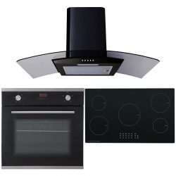 SIA 60cm Electric Single Oven, 90cm 5 Zone Induction Hob And Curved Glass Hood