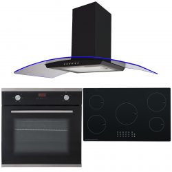 SIA 60cm Electric Single Oven, 90cm 5 Zone Induction Hob & 3 Colour Curved Hood