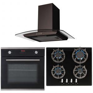 SIA 60cm Single Electric True Fan Oven, Gas 4 burner Hob & Curved Glass Hood Fan