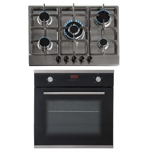 SIA 60cm Single Electric True Fan Oven & 70cm 5 Burner Stainless Steel Gas Hob