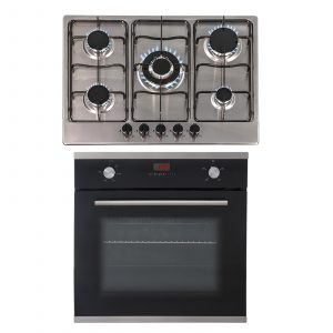 SIA 60cm Black Single Electric Fan Oven & 70cm Stainless Steel 5 Burner Gas Hob