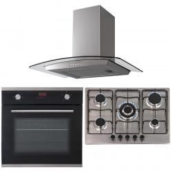 SIA 60cm Black Single Electric Oven, 70cm Stainless Steel Gas Hob & Curved Hood