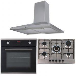 SIA 60cm Black Single True Fan Electric Oven, 70cm Gas Hob & Chimney Cooker Hood