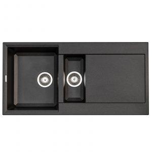 Reginox Easy 475 Black Granite Italian Designer 1.5 Bowl Reversible Kitchen Sink