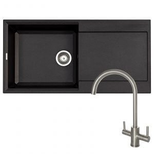 Reginox EASY480 1.0 Bowl Black Granite Kitchen Sink & Brushed Steel Mixer Tap