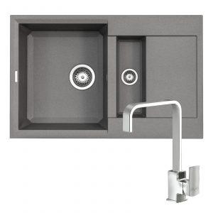 Reginox EASY325 1.5 Bowl Grey Granite Kitchen Sink & Astoria U-Shaped Mixer Tap