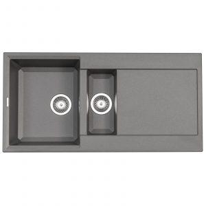 Reginox Easy 475 Grey Granite Italian Designer 1.5 Bowl Reversible Kitchen Sink