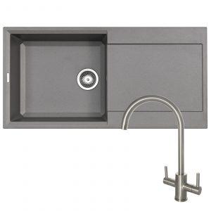 Reginox EASY480 1.0 Bowl Grey Granite Kitchen Sink & Brushed Steel Mixer Tap