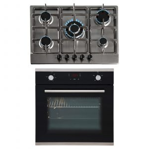 SIA 60cm Black Touch Control Fan Oven And 70cm Stainless Steel 5 Burner Gas Hob