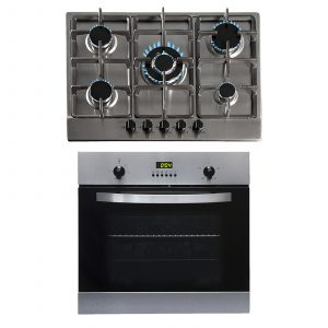 SIA 60cm Stainless Steel Electric True Fan Single Oven And 70cm 5 Burner Gas Hob