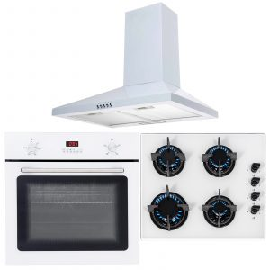 SIA 60cm White Single Electric Fan Oven,4 Burner Gas Hob And Chimney Cooker Hood