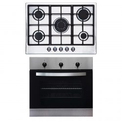 SIA 60cm Stainless Steel True Fan Electric Single Oven And 70cm 5 Burner Gas Hob