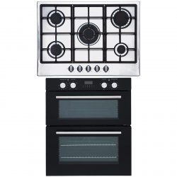 SIA 60cm Black Built Under Double Oven And 70cm Stainless Steel 5 Burner Gas Hob