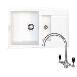 Reginox EASY325 1.5 Bowl White Granite Kitchen Sink And Brooklyn Swan Neck Tap