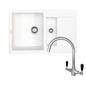 Reginox EASY325 1.5 Bowl White Granite Kitchen Sink And Brooklyn Swan Neck Tap