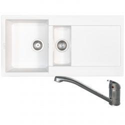 Reginox EASY475 1.5 Bowl White Granite Kitchen Sink & Clearwater Creta Mixer Tap