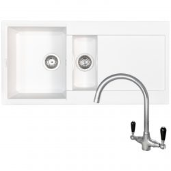 Reginox EASY475 1.5 Bowl White Granite Kitchen Sink And Brooklyn Swan Neck Tap