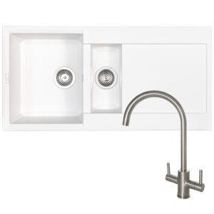 Reginox EASY475 1.5 Bowl White Granite Kitchen Sink & Elbe Swan Neck Mixer Tap