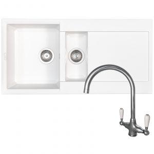 Reginox EASY475 1.5 Bowl White Granite Kitchen Sink & Brushed Steel Mixer Tap