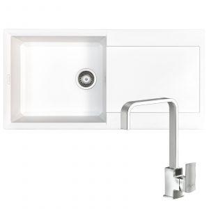 Reginox EASY480 1.0 Bowl White Granite Kitchen Sink & Astoria U-Shaped Mixer Tap