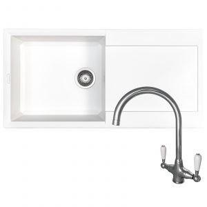 Reginox EASY480 1.0 Bowl White Granite Kitchen Sink & Elbe Swan Neck Mixer Tap