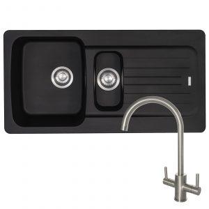 Franke Aveta 1.5 Bowl Black Tectonite Kitchen Sink And Reginox Genesis Mixer Tap