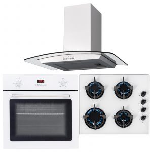 SIA 60cm White Single Electric Fan Oven,4 Burner Gas Hob And Curved Cooker Hood