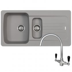 Franke Aveta 1.5 Bowl Stone Grey Tectonite Kitchen Sink And Reginox Brooklyn Tap