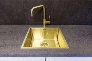 Reginox Miami 40x40cm Gold Single Bowl Stainless Steel Undermount Kitchen Sink