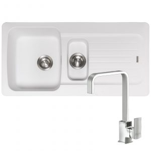 Franke Aveta 1.5 Bowl Ice White Tectonite Kitchen Sink And Reginox Astoria Tap