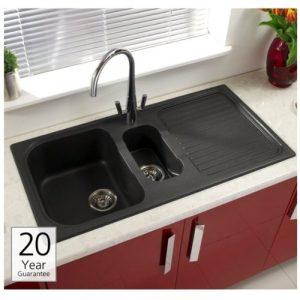Astracast MS15RZSTOMSK Black 1.5 Bowl Reversible Granite Composite Kitchen Sink